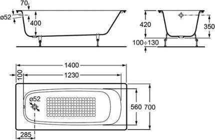 Чугунная ванна 140x70 Roca Continental (без противоскользящего покрытия) 212904001