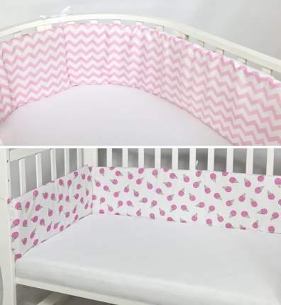Двухсторонний бортик в кроватку AmaroBaby Мороженки розовый, на молнии, 4 предмета