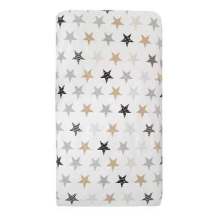Простыня на резинке AmaroBaby Звезды пэчворк, бязь, 125х75х12