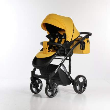 Коляска детская 2 в 1 JUNAMA SAPHIRE JSH-05 желтый/рама серебро