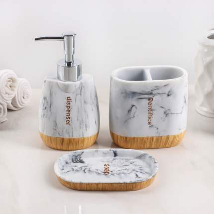 Набор аксессуаров для ванной комнаты For, 3 предмета (дозатор 150 мл, мыльница, стакан)