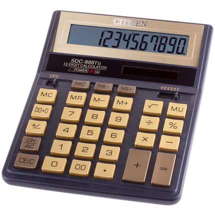 """Калькулятор настольный """"SDC-888TIIGE"""", 12 разрядов, золотисто-черный"""