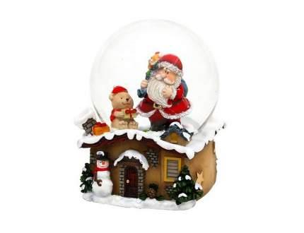 Снежный шар Sigro Санта у дымохода - Мишка 9х7 см