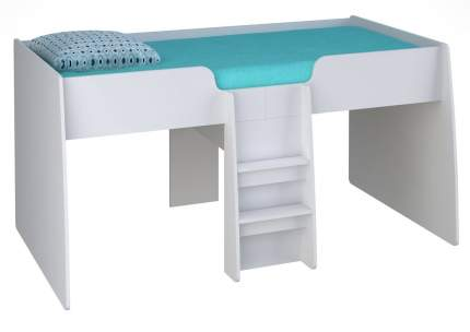 Кровать-чердак Polini Simple 4100 белый с розовым тентом и шторами