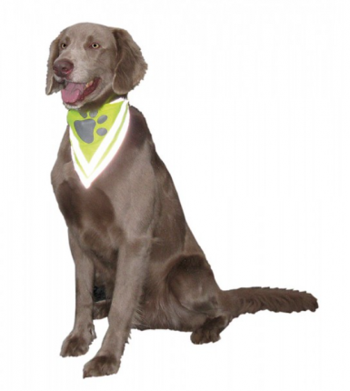 Бандана для собак Nobby светоотражающая, унисекс, демисезон, желтый, 30*13 см