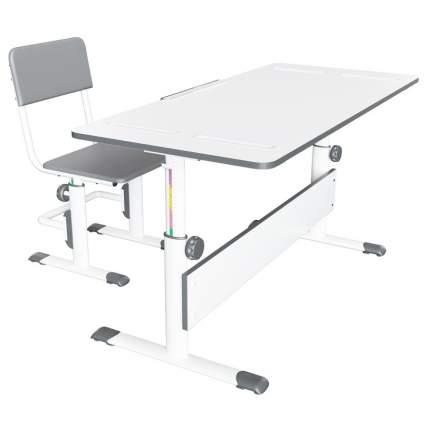 Детский комплект Polini kids City D2 серый, растущая парта-трансформер + стул регулируемый