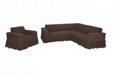 """Комплект чехлов на угловой диван и кресло с оборкой Venera """"Жаккард"""", цвет: коричневый"""