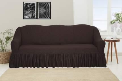 """Чехол на трехместный диван с оборкой Venera """"Жаккард"""", цвет: тёмно-коричневый"""