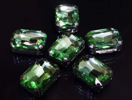 Хрустальные стразы в цапах прямоугольные (серебро) светло-зеленый 10*14мм, 5шт/упак Астр