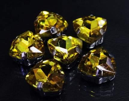 Хрустальные стразы в цапах треугольные (серебро) желтый 12мм, 3шт/упак Астра