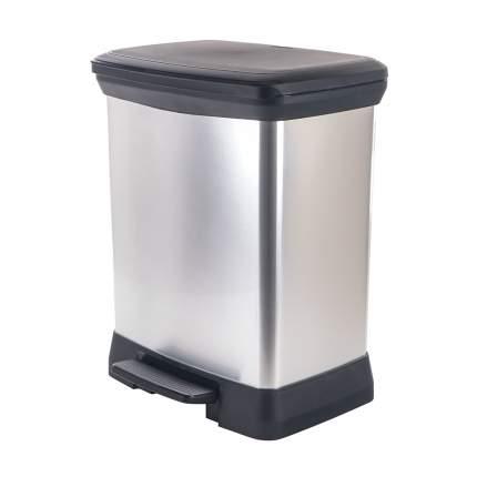 Контейнер для мусора с педалью DECO BIN черный-серебристый 30л