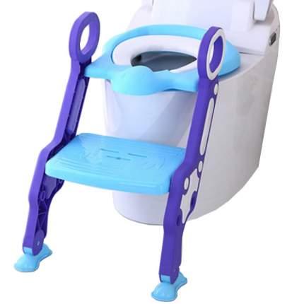 Детское сиденье на унитаз со ступенькой Пингвинчик, цвет фиолетовый