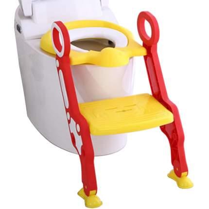 Детское сиденье на унитаз со ступенькой Пингвинчик, цвет красный
