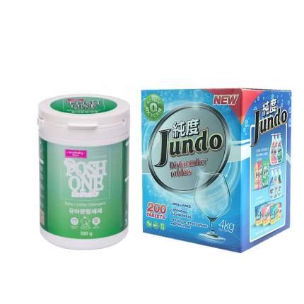 Стиральный порошок Posh One Ecobaby и таблетки для пмм Jundo Active Oxygen
