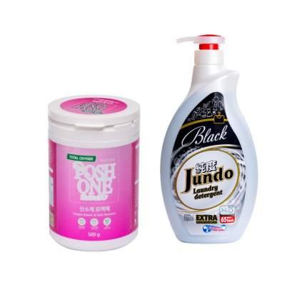 Пятновыводитель PoshOne Total Oxy Gen 500 г и гель для стирки Черного белья Jundo Black 1л