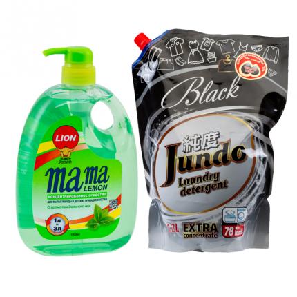 Набор гель для мытья посуды Mama Lemon зеленый чай и Гель для черного белья Jundo Black