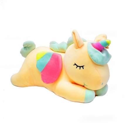 Мягкая игрушка CoolToys Лежачий Единорог желтый, 35 см