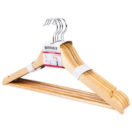 Набор вешалок для верхней одежды BRABIX, 45 см, 48-50, 5 шт, сосна