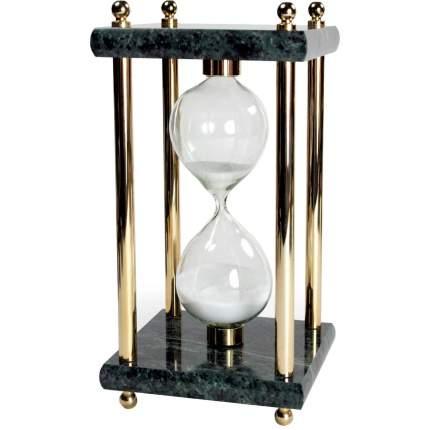 Часы песочные Galant, на 15 минут, зеленый мрамор с золотистой отделкой