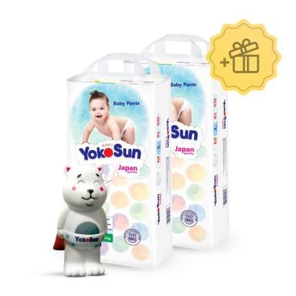 Подгузники-трусики YokoSun L (9-14 кг), 2х44 шт. + Игрушка для ванной котик Йоко в подарок