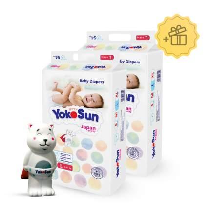 Подгузники YokoSun L (9-13 кг), 2х54 шт. + Игрушка для ванной котик Йоко в подарок