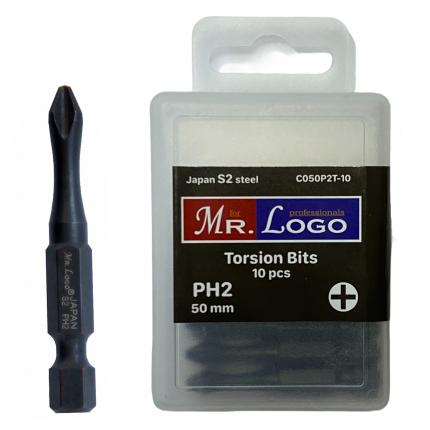 Бита Торсионная PH2 x 50 мм Mr. Logo, Сталь - S2, арт. С050P2T-10, 10 шт.