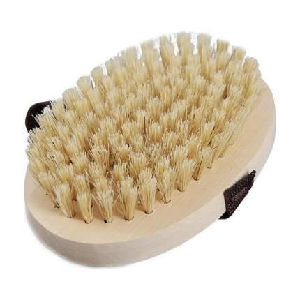 Lapka Щётка для сухого массажа березовая круглая из кактуса (жесткая) с ремешком