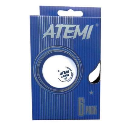 Мячи для настольного тенниса Atemi 1*, белые, 6 штук