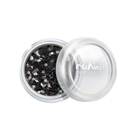Дизайн RuNail для ногтей Конфетти черный