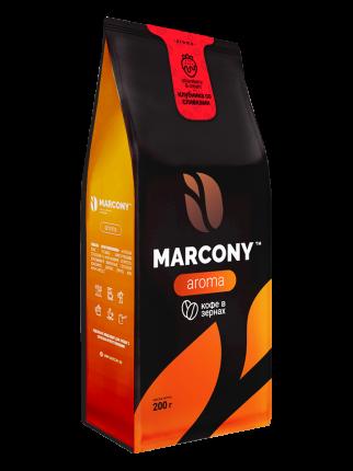 Кофе в зернах Marcony Aroma со вкусом Клубники со сливками 200г