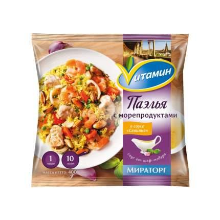 Паэлья Vитамин с морепродуктами в соусе севилья замороженная