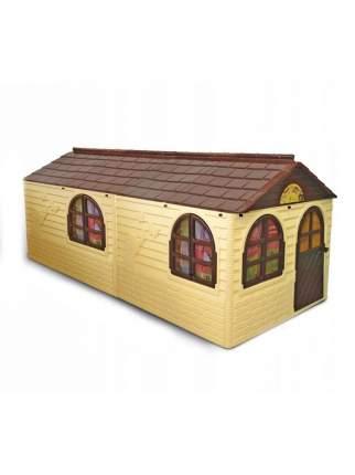 Игровой домик с карнизами и шторками, бежево-коричневый, 256*129 см, Doloni