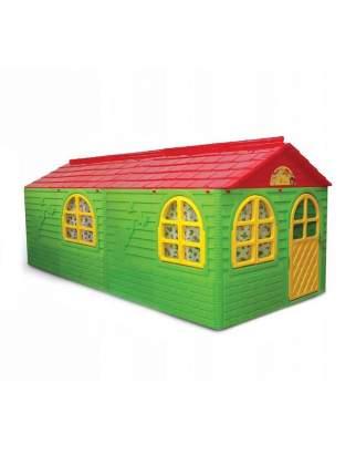 Игровой домик с карнизами и шторками Doloni зелено-красный, 256x129 см