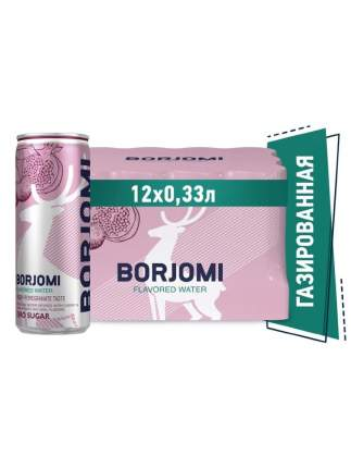 Напиток газированный Borjomi Flavored Water Вишня-Гранат без сахара, ж/б 0.33 л (12 штук)