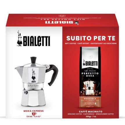 Набор Bialetti Moka Express на 3 порции и кофе молотый Hazelnut 200г в подарок