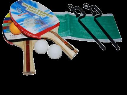Набор для настольного тенниса (2 ракетки, 3шарика, сетка со стойками: SH 014