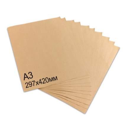 Крафт-бумага в листах А3, 297х420 мм, плотность 78 г/м2, 100 листов, BRAUBERG