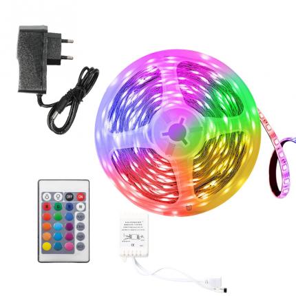 Лента светодиодная LED SMD 3528 5m с пультом блоком питания 16 цветов RGB IP65 12V
