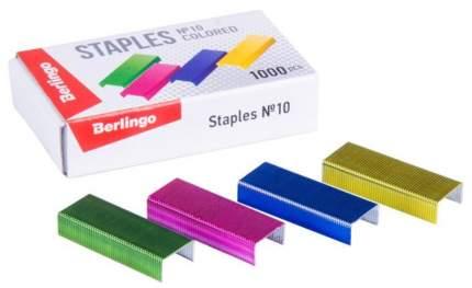Скобы для степлера №10, цветные, 1000 штук