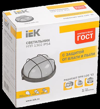 Светильник IEK НПП1302 белый/круг с реш.60Вт IP54