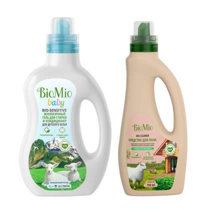 Средство для мытья полов BioMio 750 мл + Эко гель кондиционер для стирки детского белья