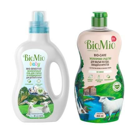 Гель кондиционер для стирки детского белья BioMio + эко средство для мытья посуды 450 мл