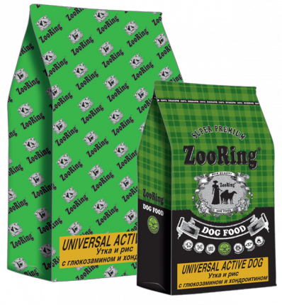 Сухой корм для собак ZooRing с глюкозамином и хондроитином, утка, рис,  20кг