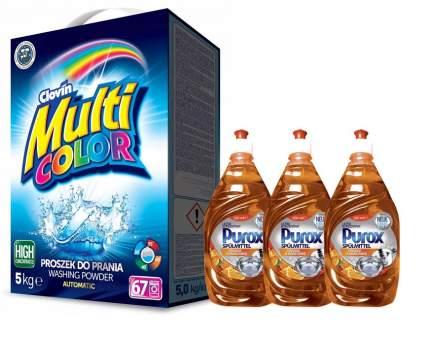 Clovin Стир.порошок Multicolor 5 кг + 3 шт Гель для м/п Purox Апельсин и мандарин 650 мл