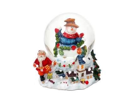 Снежный шар Sigro Вдохновенный снеговик в шляпе 8х7,5х9 см