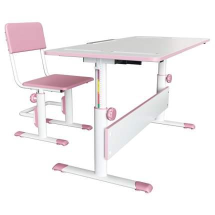 Детский комплект Polini City розовый, растущая парта-трансформер D2 + регулируемые стулья