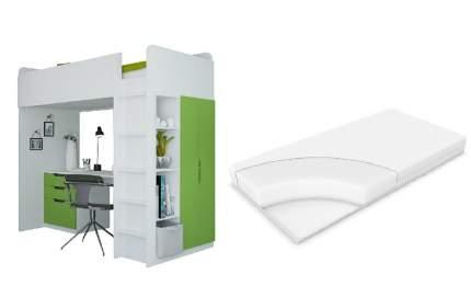 Набор Polini белый-лайм, кровать-чердак Simple + матрас Comfort Dream