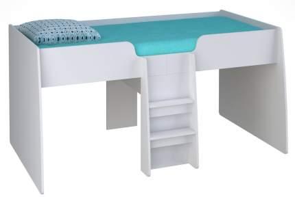 Кровать-чердак Polini Simple 4100 белый с голубым тентом и шторами