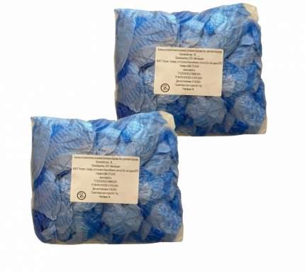 Комплект Бахилы с двойной подошвой 14х41 см голубой/белый 100 пар