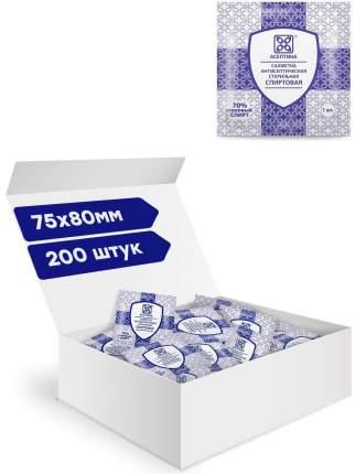Салфетки антисептические стерильные спиртовые Асептика 200 штук Размер 75 х 80 мм. саше